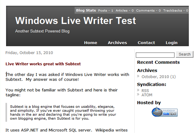 Writer test Subtext blog server