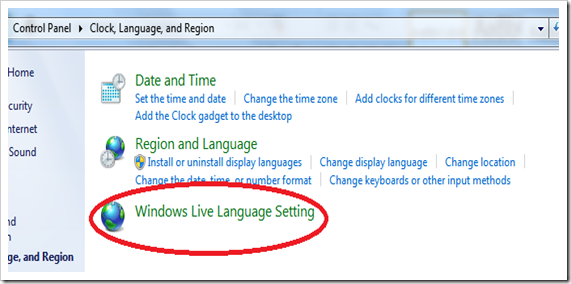 Windows Live language setting in Windows control panel