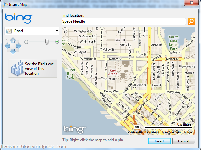 Live Writer Bing map dialog