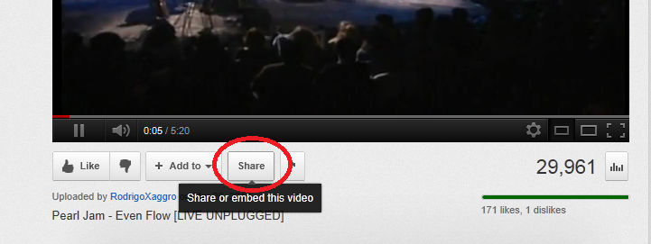 Share button on YouTube