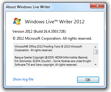 Windows Live Writer 2012 About box
